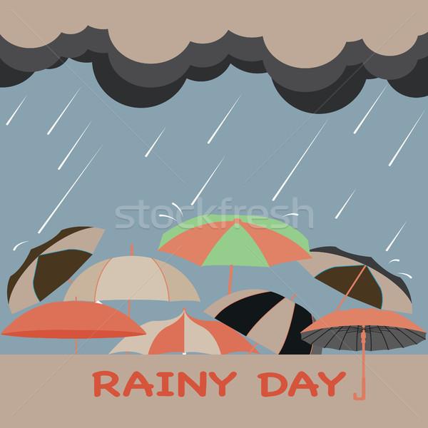 Deszczowy sezon chmury parasole twórczej Zdjęcia stock © Margolana