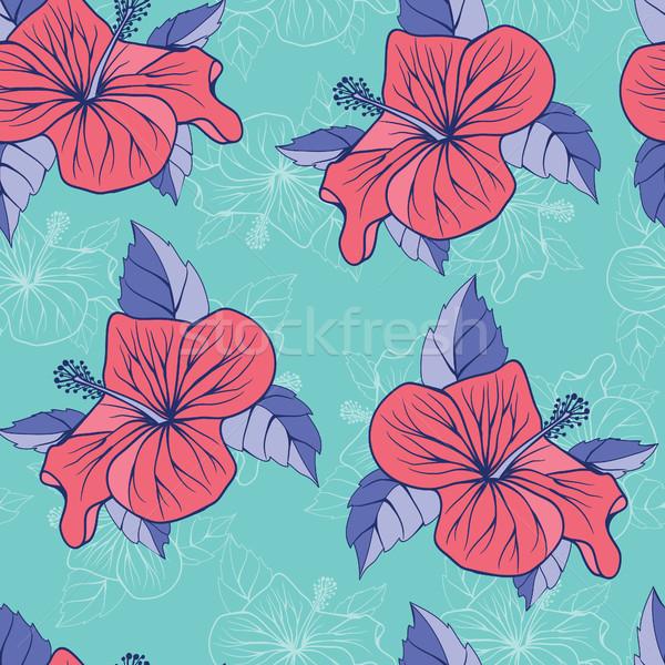 Tropical flores hibisco exótico sem costura decorativo Foto stock © Margolana