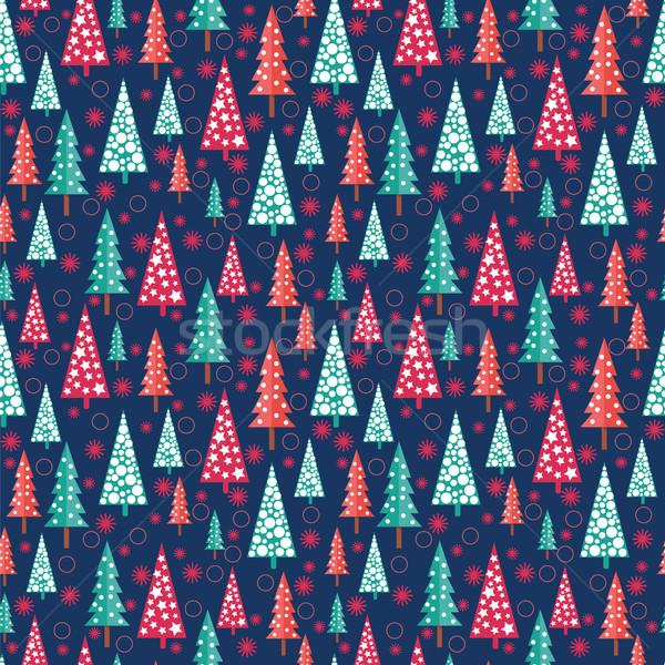 Stock photo: seamless Christmas pattern -  Xmas trees and snowflakes