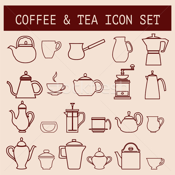 Wektora zestaw kawy herbaty czasu liniowy Zdjęcia stock © Margolana