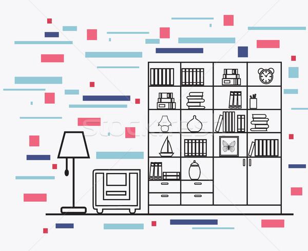 линейный интерьер иллюстрация современных дизайнера домой Сток-фото © Margolana