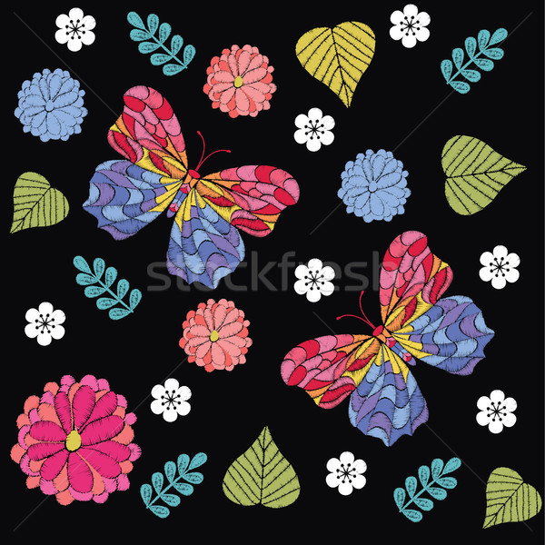Embroidery seamless pattern with beautiful flowers and butterfly Stock photo © Margolana