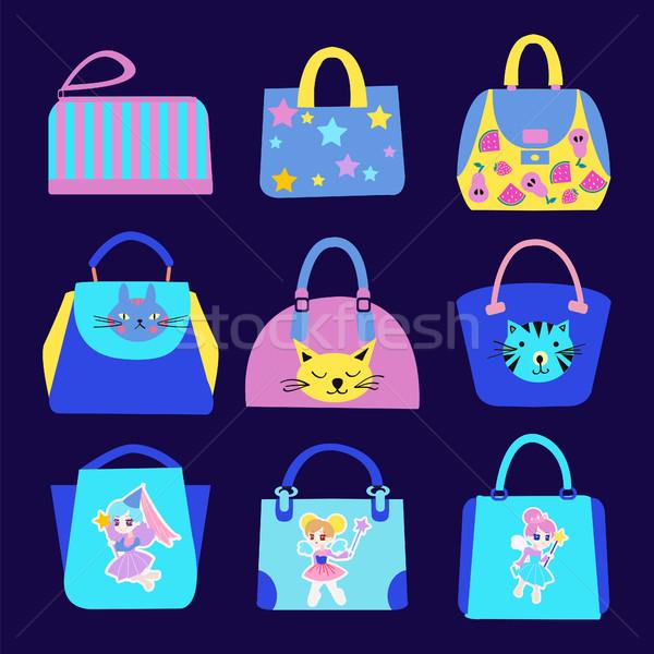 Moda bonitinho desenho animado padrão saco coleção Foto stock © Margolana