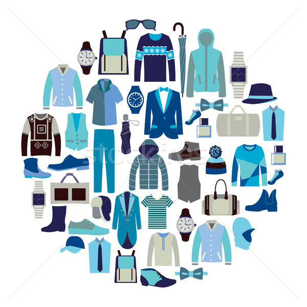 Vector set icon of Fashion collection of man wardrobe Stock photo © Margolana