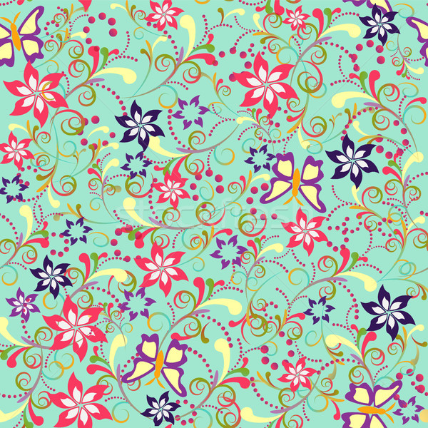 Floral tourbillon papillons peuvent Photo stock © Margolana