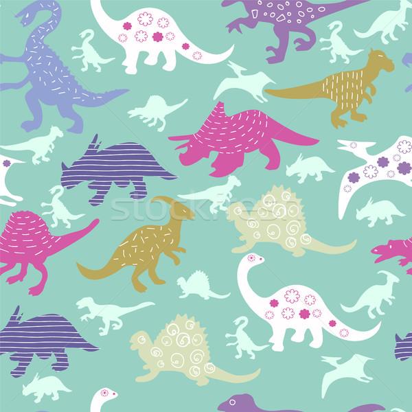 Stock fotó: Aranyos · minta · színes · különböző · dinoszaurusz · vektor