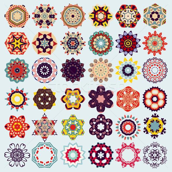 set of mandala round ornament pattern.  Stock photo © Margolana