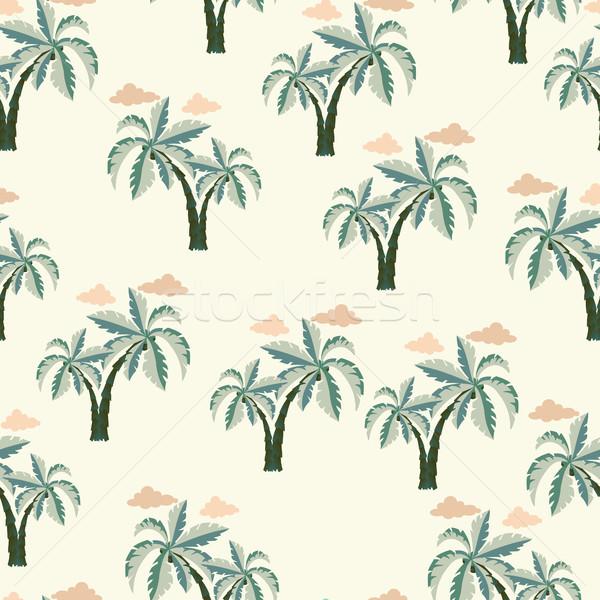 Palmiers vecteur blanche arbre main Photo stock © Margolana