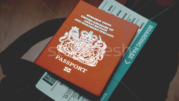 Britain passport and boarding pass on bag Stock photo © Margolana