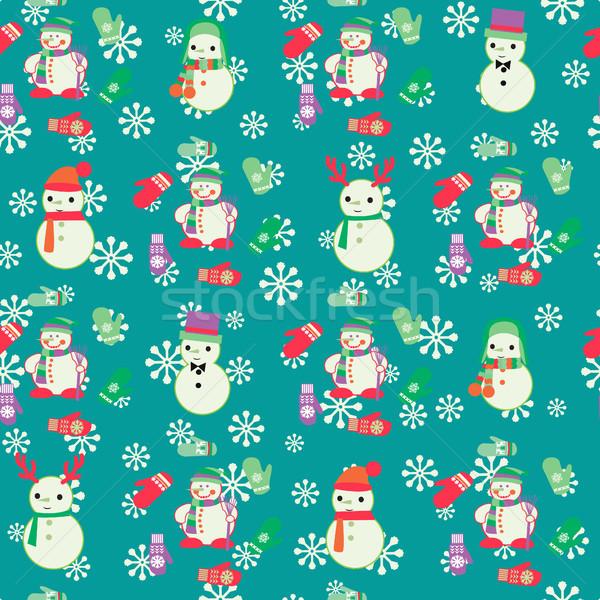 Karácsony végtelen minta aranyos vektor terv csomagolópapír Stock fotó © Margolana