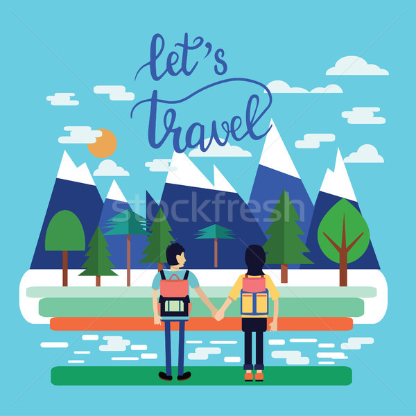 Couple of traveler with Backpacks Standing and look at beautiful Stock photo © Margolana