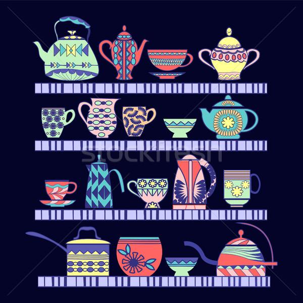 Thé ensemble pot tablettes Photo stock © Margolana