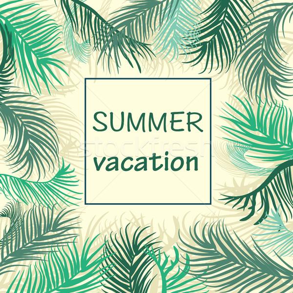 Pálmalevelek keret nyári szabadság üdvözlőlap pálmafák citromsárga Stock fotó © Margolana