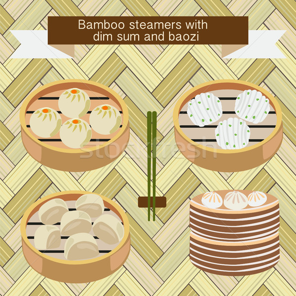 Bamboo steamers with dim sum and baozi  Stock photo © Margolana