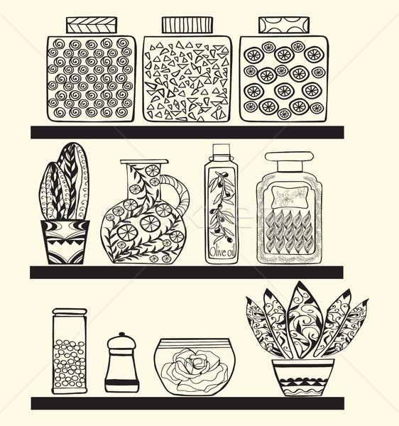 キッチン パントリー 棚 スタイル 黒白 ストックフォト © Margolana