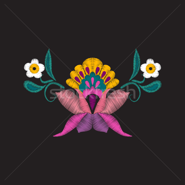 beautiful flowers embroidery for textile design elements. Stock photo © Margolana