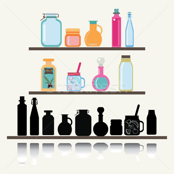 A set of cute icon collection of glassware jars and bottle. Stock photo © Margolana