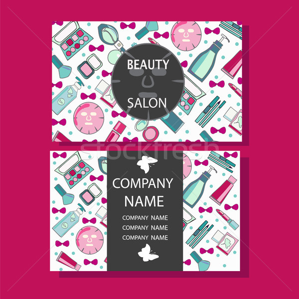 makeup care cute design of business cards for beauty salon   Stock photo © Margolana