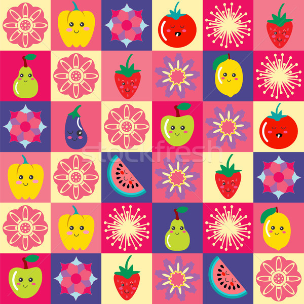 pattern with funny cartoon flowers and set of cute Fruit and veg Stock photo © Margolana