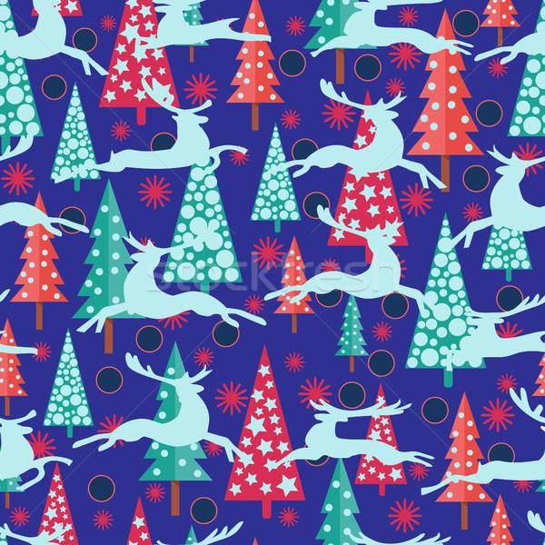 明けましておめでとうございます クリスマス 木 雪 ベクトル ストックフォト © Margolana