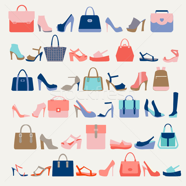 Stock photo: Collection  of  fashion Women bags and High Heels shoes
