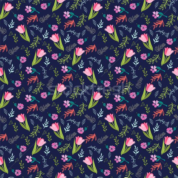 Virágmintás minta tulipánok vad virágok elegáns végtelen minta Stock fotó © Margolana
