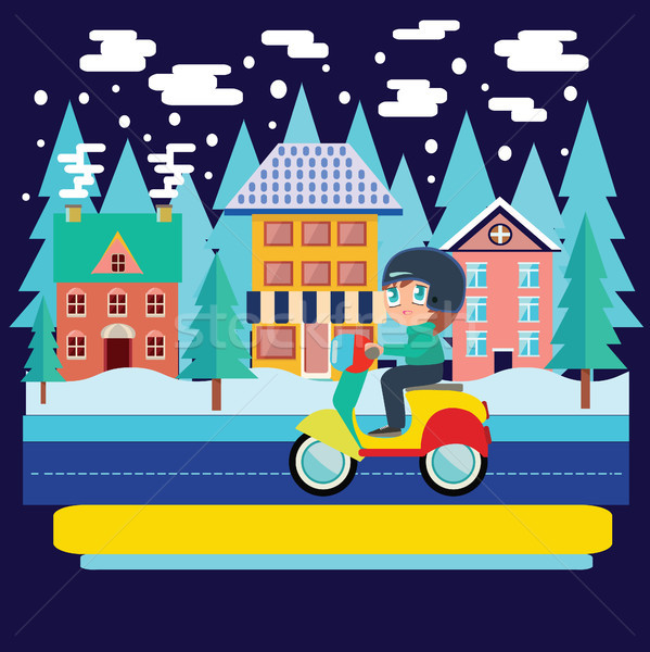 Winter city landscape and  Boy Riding scooter, motorcycle in fla Stock photo © Margolana