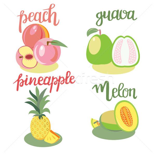 Frutas pêssego melão ananás isolado Foto stock © Margolana