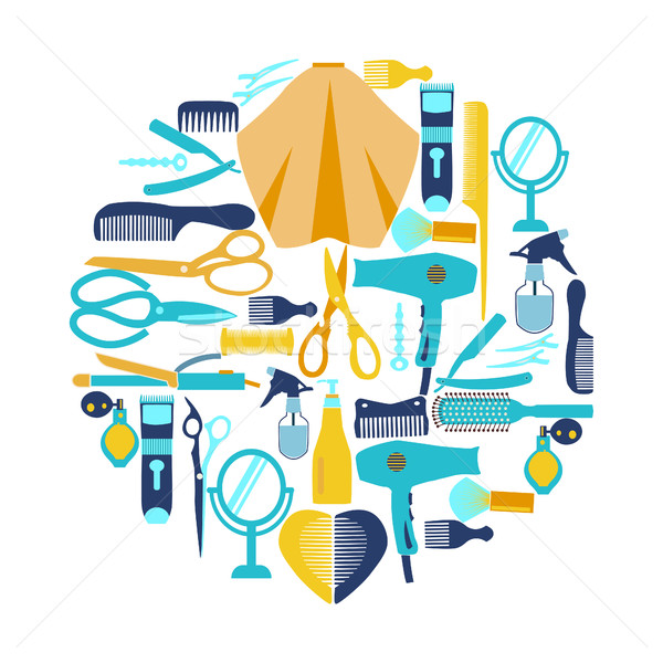 Collection  silhouette of Haircutting tool and barbershop object Stock photo © Margolana