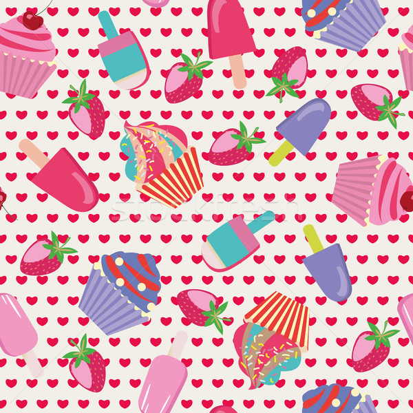 cartoon cake Seamless Dessert Pattern Stock photo © Margolana