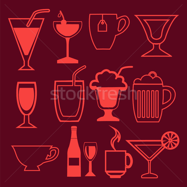 bar and drinks icons set in linear style Stock photo © Margolana