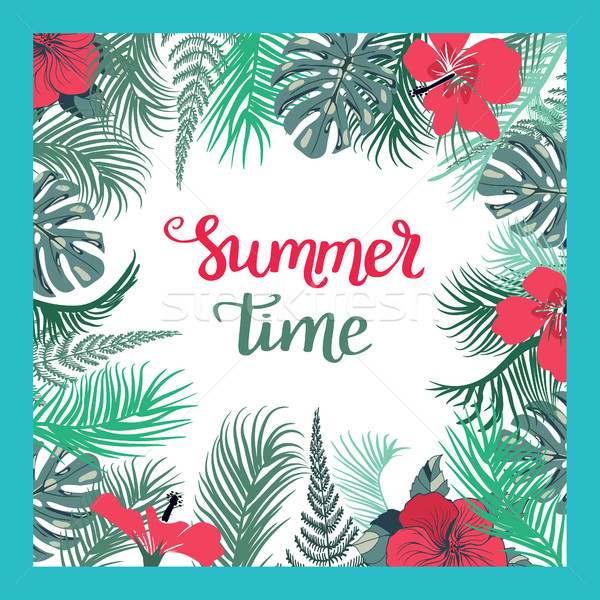 Tropical Background With Summer Time text. Stock photo © Margolana