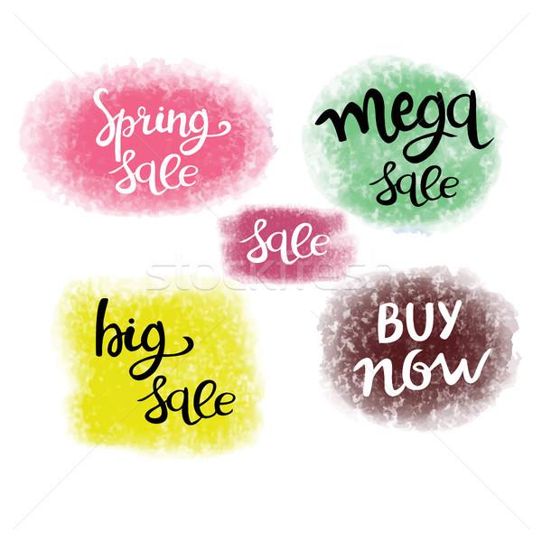 Printemps vente signes vecteur Photo stock © Margolana