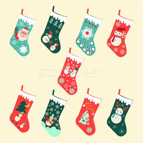 Cute Set of Cartoon Christmas socks Stock photo © Margolana