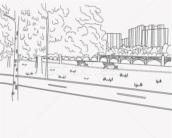 дороги графических черно белые пейзаж эскиз Сток-фото © Margolana