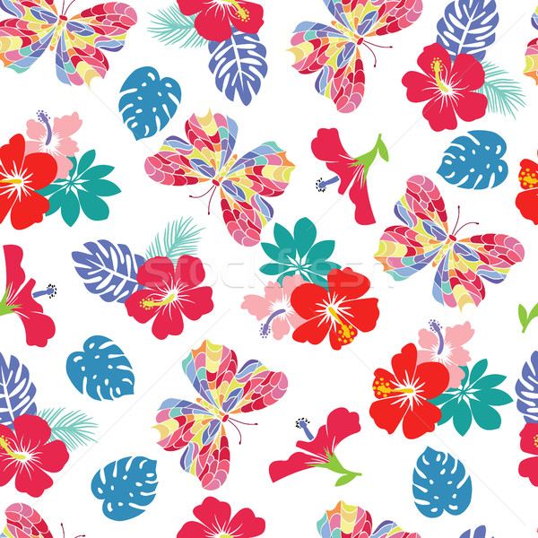 background with flower hibiscus and flying butterflies Stock photo © Margolana