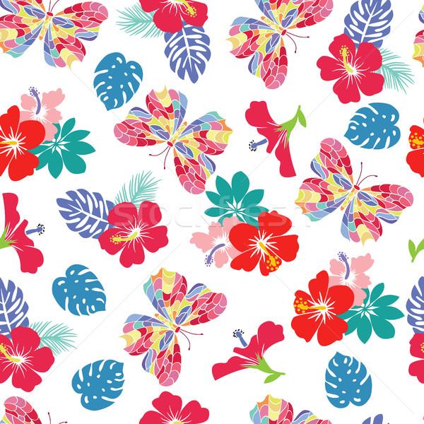 花 ハイビスカス 飛行 蝶 抽象的な 自然 ストックフォト © Margolana