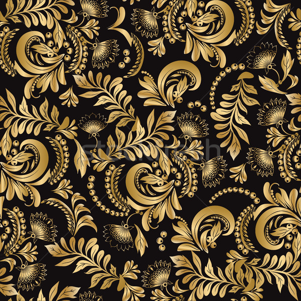 Floral seamless pattern decorative style Hohloma gold  Stock photo © Margolana