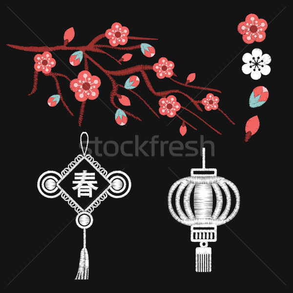 Embroidery blossoms, branch of cherry sakura tree Stock photo © Margolana