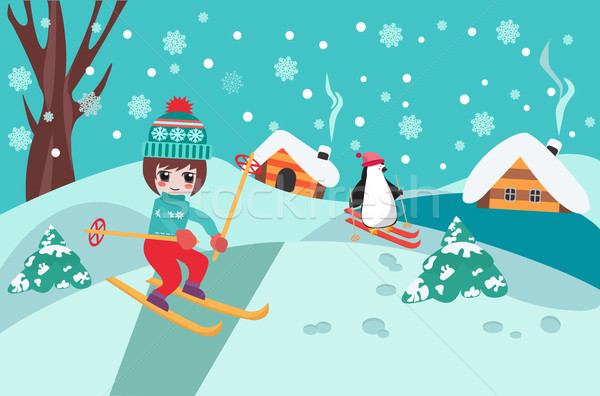 Merry Christmas collection background with cute chibi girl skiin Stock photo © Margolana