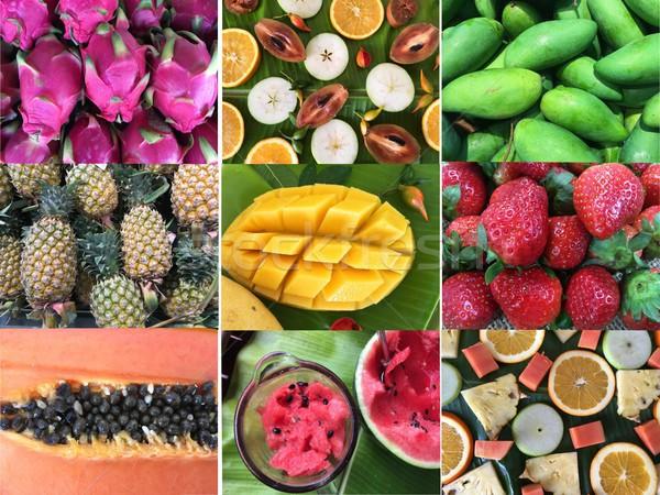 Zestaw wzorców owoce kolekcja tropikalnych tle Zdjęcia stock © Margolana