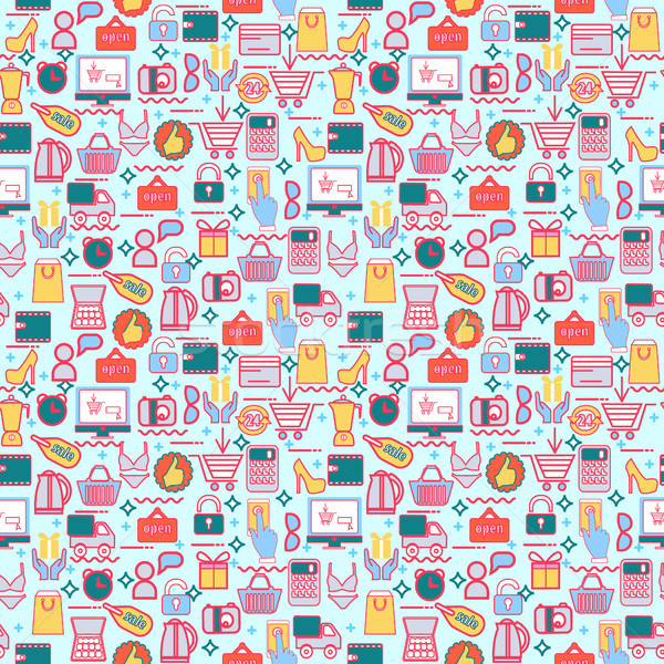 background with colorful shopping icons, retail. Stock photo © Margolana