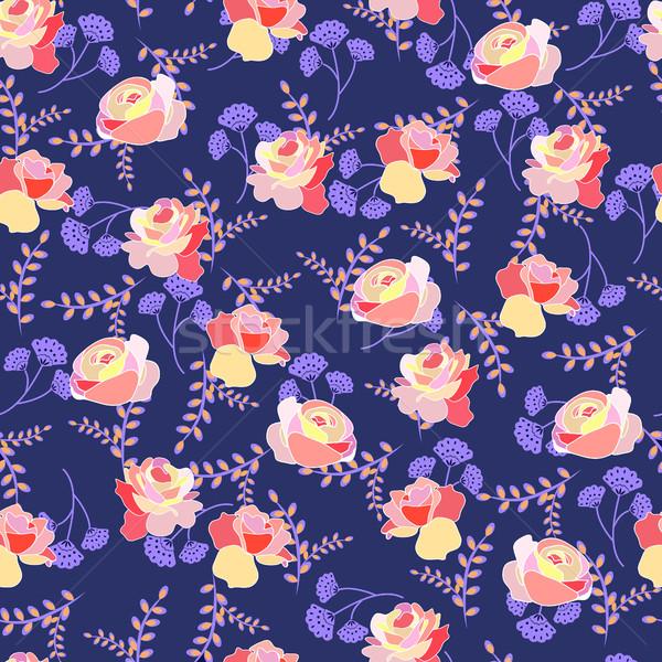 Model güller yaz Çiçekler mavi bağbozumu Stok fotoğraf © Margolana