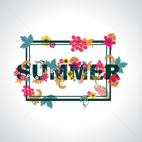 Summer background with typography design with leaves and flowers Stock photo © Margolana