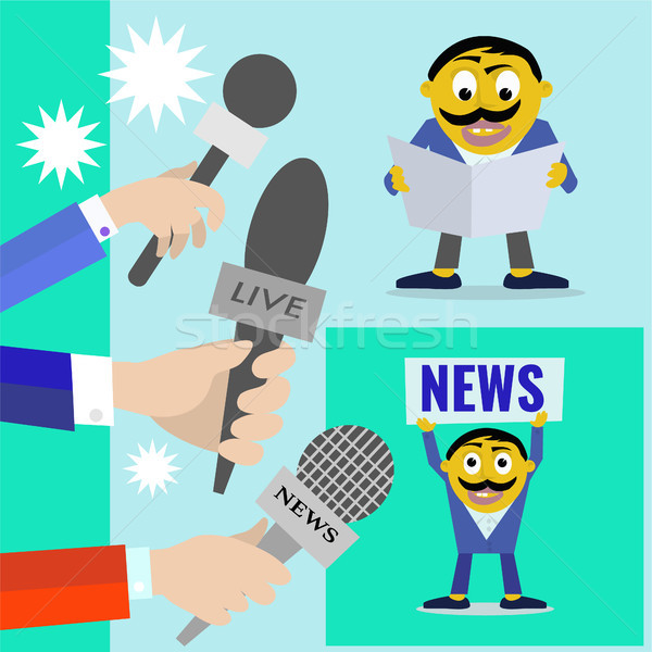 Reporters with microphones of radio and television, news program Stock photo © Margolana