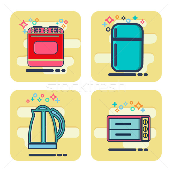 Stock photo: Line icons set with flat design elements Kitchen appliances