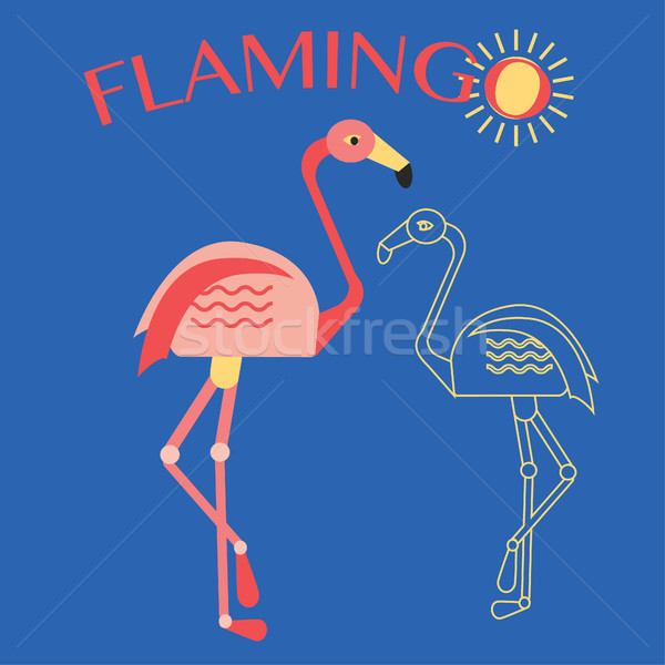 Stylish flat design flamingo Icon. Stock photo © Margolana