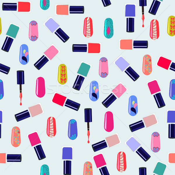 Vector pattern of colorful nail polish bottles. Stock photo © Margolana