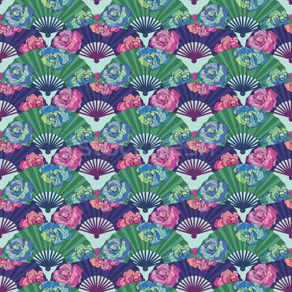 パターン オリエンタル ファン 装飾された バラ 花 ストックフォト © Margolana