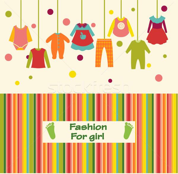 Vêtements ensemble fille mode vecteur bébé Photo stock © Margolana